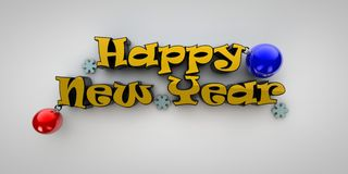 Happy New Year. Inscription Merry Christmas with Christmas balls in 3d vector illustration