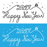Happy New Year 2017 inscription. Mono line hand drawn lettering. With curves. Calligraphy script on blue and white backgrounds for your greeting card Stock Images