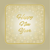 Happy New Year inscription and snowflakes gold frame vector. Illustration vector illustration