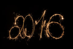 Happy New Year 2016 inscription sparklers. Stock Images