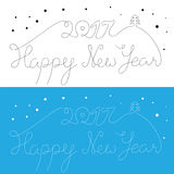 Happy New Year 2017 inscription. Thin hand drawn lettering with. Curves. Calligraphy script on blue and white backgrounds for your greeting card Stock Photos