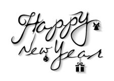 Happy New Year Inscription on White Background vector illustration