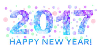 Happy New Year inscription of the year 2017 from bokeh texture i. N bright blue and purple color. For use as a decorative background and new year 2017 card stock illustration