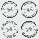 Happy New Year 2020 insignia stamp  on. Happy New Year 2020 insignia stamp  on white background. Grunge round hipster seal with text, ink texture and splatter Stock Image
