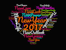 Happy New Year 2017 Inspirational Quotes and Motivational Sayings on Black Background  Multicolor Heart Graphic Artwork Poster Royalty Free Stock Image