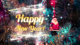 Happy new year intro. Happy new year nice beautiful fine animation cool intro with fireworks and gold title complete show for tv stock footage
