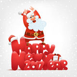 Happy new year invitation card. Crazy santa concept. Vector illustration Royalty Free Stock Photos