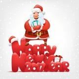Happy new year invitation card Santa claus holding gift box. Illustration Royalty Free Stock Photo
