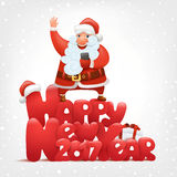 Happy new year invitation card Santa claus with smartphone. Vector illustration Royalty Free Stock Images