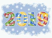 Happy 2019 New year invitation card, vector. Illustration stock illustration