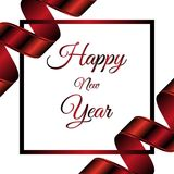 Happy new year invitation card on white background. Red ribbon. Red frame.. Happy new year invitation card on white background. Red ribbon. Red frame. Vector Royalty Free Stock Photography