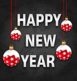 Happy New Year Invitation with Red Snowing Balls Royalty Free Stock Photo