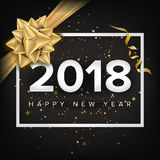 Happy New Year 2018 Invitation Vector. Christmas Greeting Card. Modern New Year Poster, Flyer Template Design. Festival Stock Photo