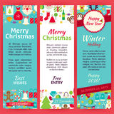Happy New Year Invitation Vector Template Flyer Set Stock Photography