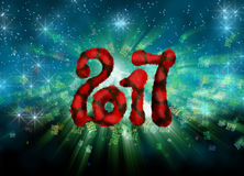 Happy new year 2017 isolated furry numbers on bright bokeh background full of flying digits 3d illustration Stock Photos