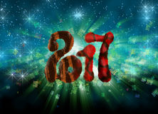 Happy new year 2017 isolated furry numbers on bright bokeh background full of flying digits 3d illustration Royalty Free Stock Images