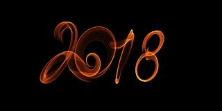 Happy new year 2018 isolated numbers lettering written with fire flame or smoke on black background.  Royalty Free Stock Photos