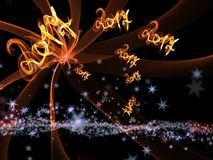 Happy new year 2017 isolated numbers lettering written with fire flame or smoke on black background.  Stock Image