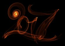 Happy new year 2017 isolated numbers lettering written with fire flame or smoke on black background.  Royalty Free Stock Image
