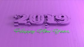 Happy new year 2019 isolated numbers lettering written by pink wood and green on violet background. 3d illustration.  stock illustration