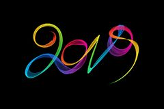 Happy new year 2019 isolated numbers lettering written with rainbow fire flame or smoke on black background.  royalty free illustration