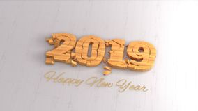 Happy new year 2019 isolated numbers lettering written by wood on white background. 3d illustration.  stock illustration