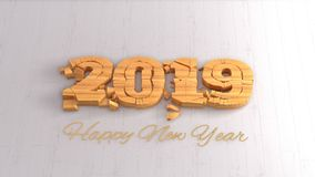 Happy new year 2019 isolated numbers lettering written by wood on white background. 3d illustration.  royalty free illustration