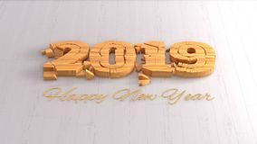 Happy new year 2019 isolated numbers lettering written by wood on white background. 3d illustration.  vector illustration