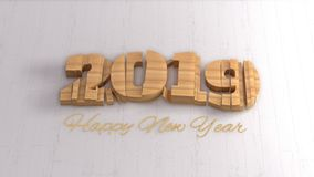 Happy new year 2019 isolated numbers lettering written by wood on white background.  vector illustration