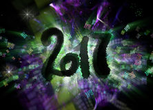 Happy new year 2017 isolated numbers written with darkness on bright bokeh background full of flying digits 3d Royalty Free Stock Photography