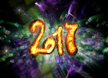 Happy new year 2017 isolated numbers written with fire on bright bokeh background full of flying digits 3d illustration Stock Photos