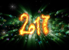 Happy new year 2017 isolated numbers written with fire on bright bokeh background full of flying digits 3d illustration.  Stock Photo
