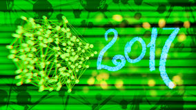 Happy new year 2017 isolated numbers written with light on black tech geometric 3d rendering background.  Stock Photos