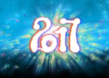 Happy new year 2017 isolated numbers written with light on bright bokeh background full of flying digits 3d illustration Stock Photos