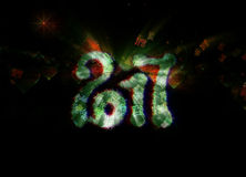 Happy new year 2017 isolated numbers written with light on dark bokeh background full of flying digits 3d illustration. Stock Image