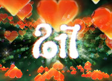 Happy new year 2017 isolated numbers written with light on dark bokeh background and red flying hearts 3d illustration Royalty Free Stock Photography