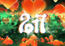 Happy new year 2017 isolated numbers written with light on dark bokeh background and red flying hearts 3d illustration.  Stock Images