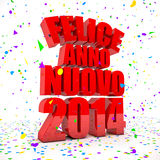 Happy New year 2014 in italian languages. 3D Render of the text Happy New Year in italian languages Royalty Free Stock Photography