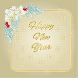 Happy New Year jasmine and snowflakes gold frame vector. Illustration vector illustration