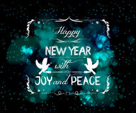 Happy new year with joy and peace greeting card Stock Image
