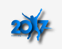 Happy new year 2017 with jumping men illustration Royalty Free Stock Images