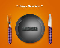 Happy New year. 2014, keyboard buttons in plate with 2014 numbers with Fork and knife Stock Photography