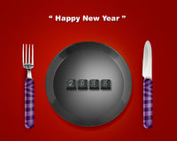Happy New year. 2015, keyboard buttons in plate with 2014 numbers with Fork and knife, the same concept available for 2015 year Royalty Free Stock Photography