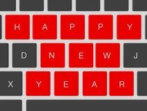 Happy New Year Keys. Red happy new year keys between dark keys Royalty Free Stock Photos