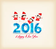 Happy New Year 2016 with kids as santa claus Royalty Free Stock Photography