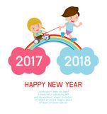 Happy New Year kids background, children running on the rainbow. between 2017 and 2018 years Colorful Vector Illustration.  stock illustration