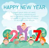 Happy New Year 2017 kids background, happy child with Happy new year 2017, rooster, Colorful Vector Illustration. Happy New Year 2017 kids background, happy royalty free illustration