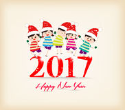 Happy new year 2017 with kids funny.  vector illustration