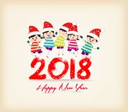 Happy new year 2018 with kids funny Royalty Free Stock Images