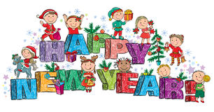 Happy New Year kids on the letters Stock Images